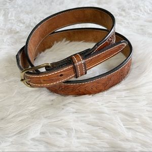 Tony Lama tooled leather brown western belt 38